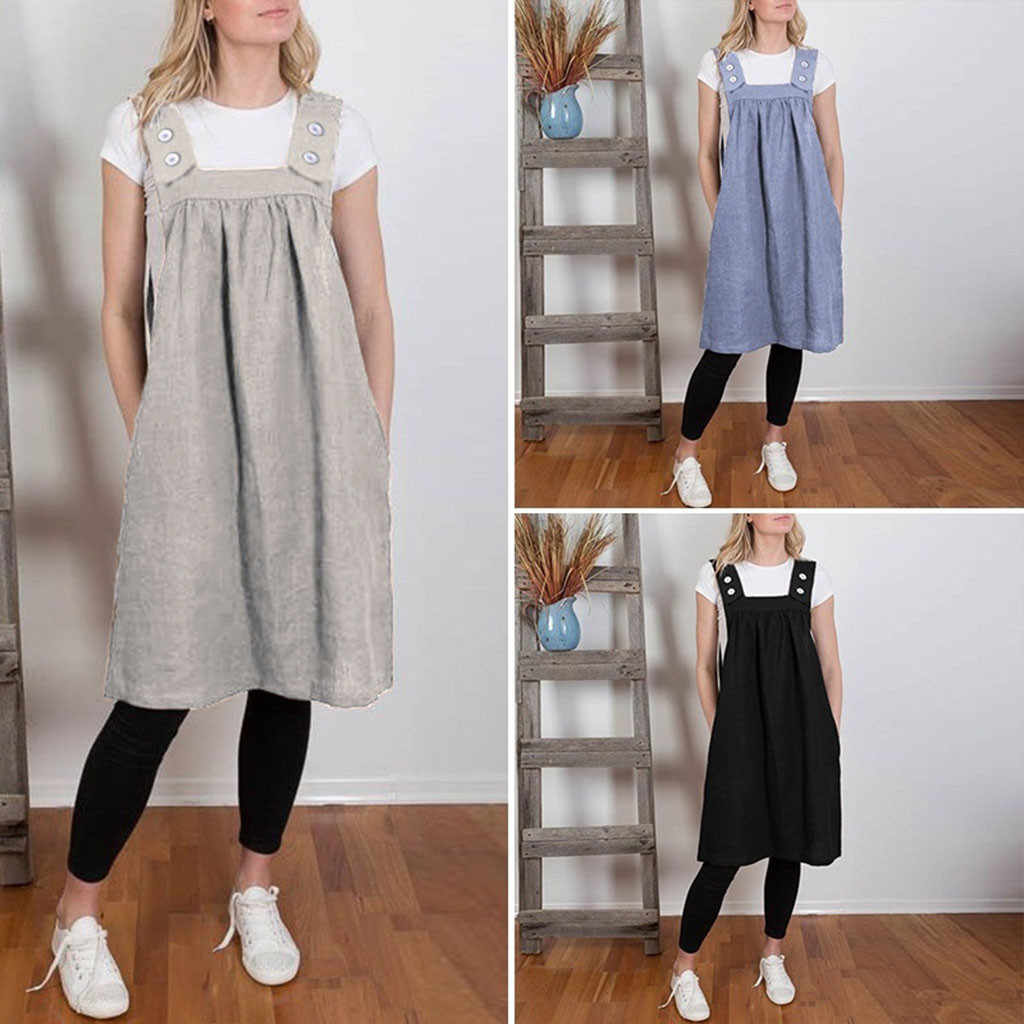 65a049058d New Arrived Summer Apron Strap Dress Women Square Cross Cotton Work  Pinafore Casual Loose Solid Color Dresses abito Strap #C