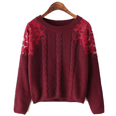 2014 New Fashion Winter Women's Pullovers O-neck Long Sleeve Embroidery Stitching Sweaters Knitwear Wine Red,White,Black,Emerald