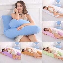 Almohada de embarazo ropa de cama almohada de cuerpo entero para mujeres embarazadas cómodo cojín en forma de U almohadas de apoyo para dormir de lado largo