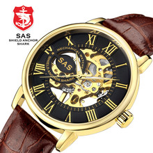 SAS Watch Men Luxury Waterproof Roman Numeral Hollowed Out Dial Men's Mechanical Self Wind Watches Watches Skeleton Watch все цены