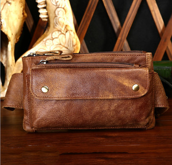 Male Genuine Leather bag belt men's waist bag Crossbody Casual fashion chest Cross-country men's Waist Pack belt bags фото