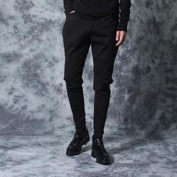 Осенние повседневные обтягивающие Мужские штаны в стиле пэчворк, эластичные обтягивающие штаны, мужские шаровары, модные черные штаны