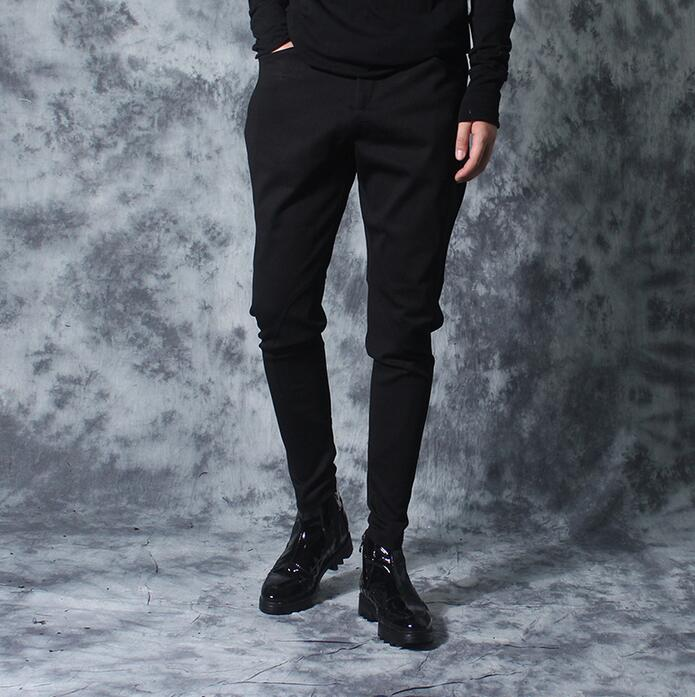 Autumn Personality Patchwork Slim Casual Pants Men Elastic Skinny Pants Mens Harem Pants Fashion Novelty Black Pantalon Homme