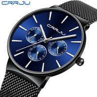 Reloj para hombre 2019 CRRJU, relojes de lujo de marca superior para hombre, reloj de pulsera de fecha Ultra fino impermeable, reloj de pulsera de malla para hombre, reloj de cuarzo informal