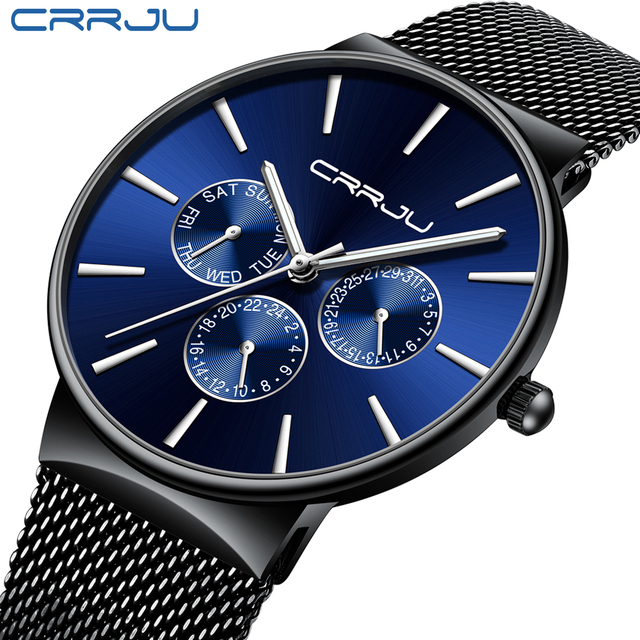 Reloj Hombreนาฬิกาผู้ชายCRRJUแบรนด์หรูนาฬิกากันน้ำUltra Thinวันที่นาฬิกาข้อมือชายตาข่ายCasualนาฬิกาควอตซ์