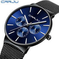 Reloj hombre 2019 CRRJU haut marque de luxe hommes montres étanche Ultra mince Date montre-bracelet mâle maille sangle décontracté Quartz horloge