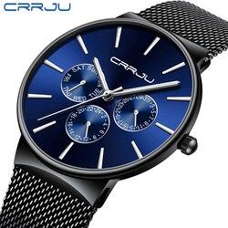 Reloj hombre 2019 crrju marca superior relógios masculinos de luxo à prova dwaterproof água ultra fino data relógio de pulso masculino malha cinta casual relógio de quartzo
