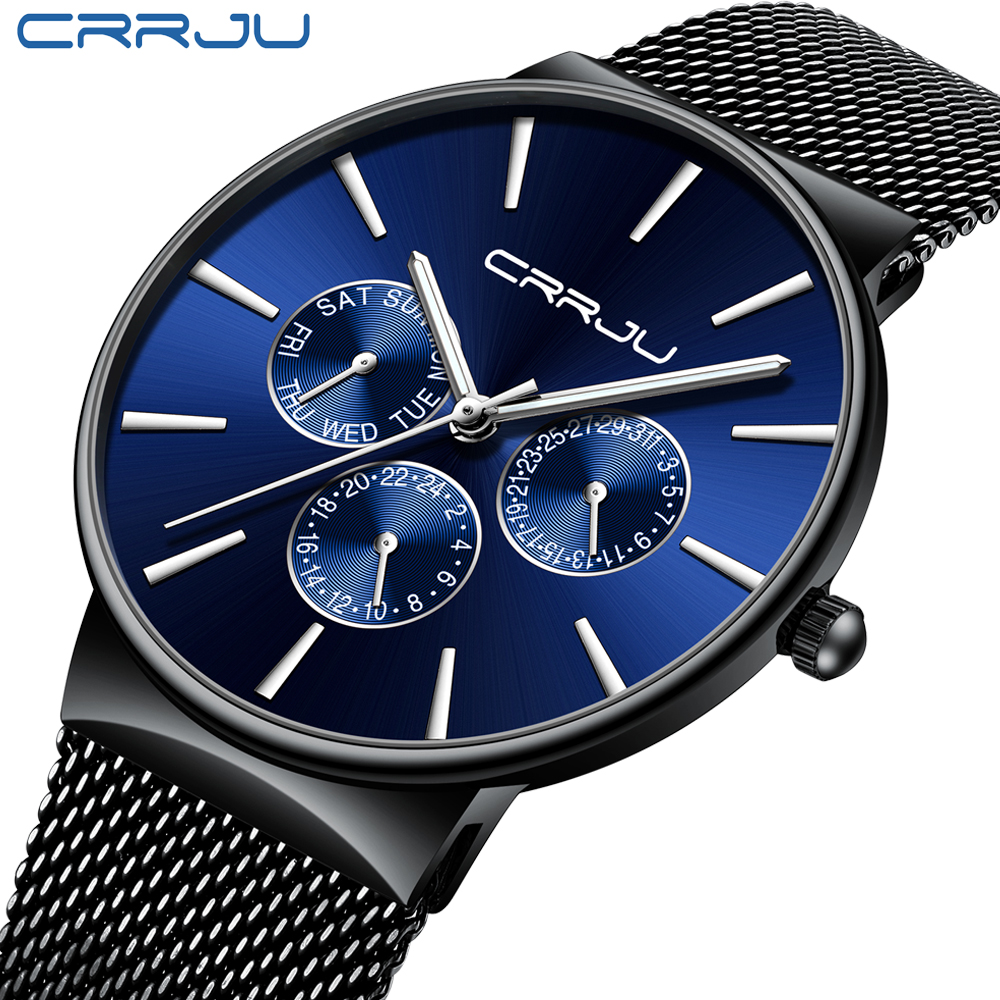reloj hombre <font><b>2019</b></font> CRRJU Top Brand <font><b>Luxury</b></font> <font><b>Men</b></font> <font><b>Watches</b></font> Waterproof <font><b>Ultra</b></font> <font><b>Thin</b></font> Date Wrist <font><b>Watch</b></font> Male Mesh Strap Casual Quartz Clock image