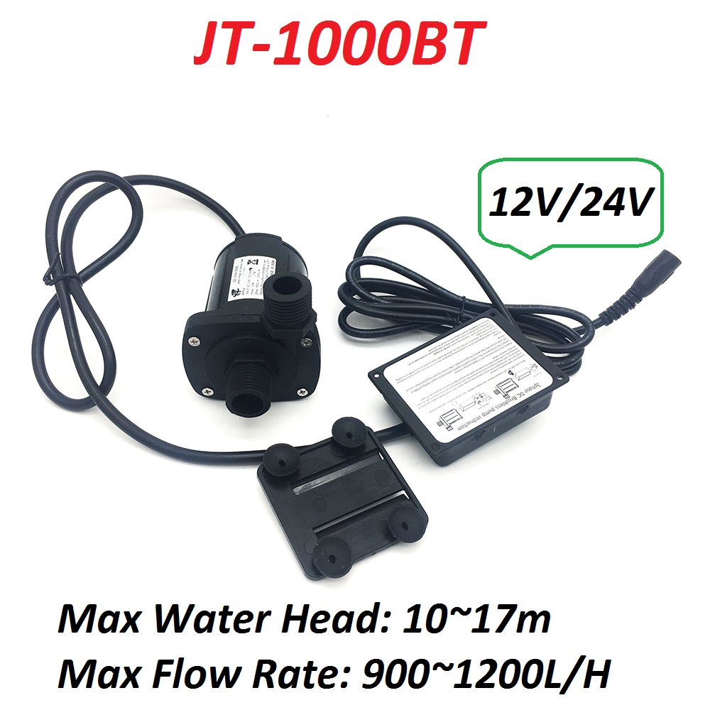 1000BT 12V 24V High Pressure 17m Max Water Head Brushless Pump 900 1200L H Submersible Water