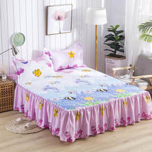 New Waterproof Cartoon Sea World Printing Bed Skirt With Surface Bed Mattress Cover Sheet Home Textile Bed Linens(43cm Height)(China)