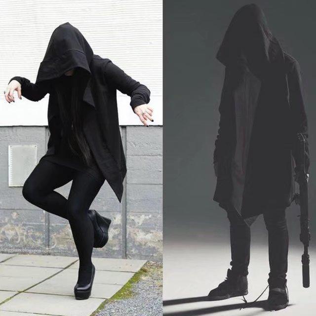 Mens Goth Gothic Punk Jacket Hooded Jacket Long Cardigan Ninja Hoodie Coat M~2XL