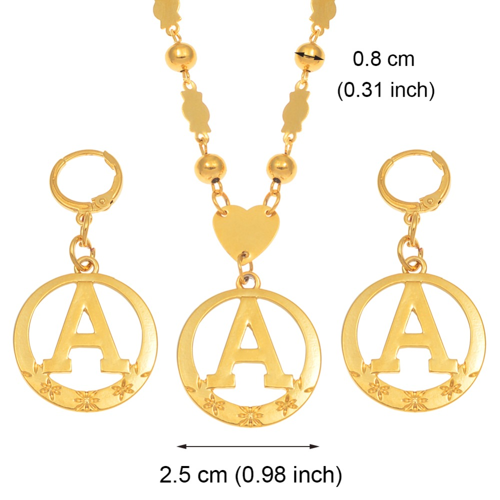 Anniyo A Z 60CM Beads Letters Necklaces Gold Color Marshalls Initial Alphabet Ball Chains Micronesia Jewelry 128006 in Pendant Necklaces from Jewelry Accessories