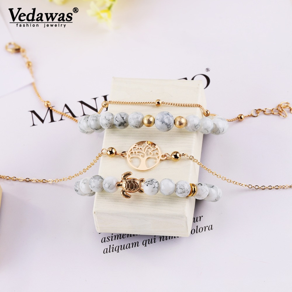 Vedawas Vintage Turtle Tree Charm Bracelets Set Stone Beads Bracelet Boho Party Jewelry Xg2312