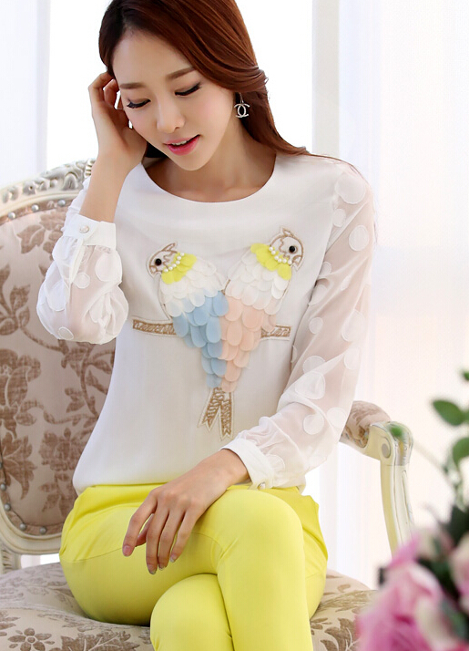 Free Shipping High Quality Spring New Arrival Individual Round Collar Long Sleeve 3D Owl Decorated Chiffon Blouse White