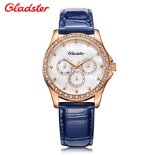 Relogio Feminino Luxury Brand Gladster 3 Time Zone Dial Alloy Case Material Genuine Leather Strap Ladies