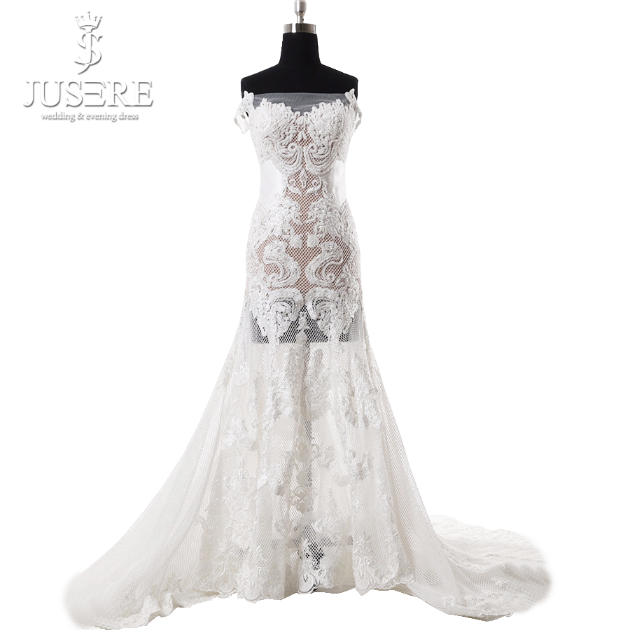 Jusere off the shoulder illusion body matte beading long for Full body wedding dress