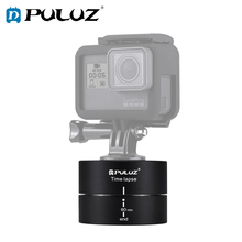 PULUZ Camra Time lapse 360 Panoramic Panning Rotation 60 Minutes Gopro Stabilizer Tripod Head Adapter Timelapse mini electric panorama head 360 degree rotating time lapse tripod head adapter for iphone samsung gopro cameras micro slr