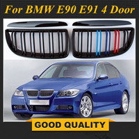 4 Color Pair Front Gloss Matt Carbon M Color Black 2 Line Double Slat Kidney Grille Grill For BMW E90 E91 4 Door 2005 2006 2007