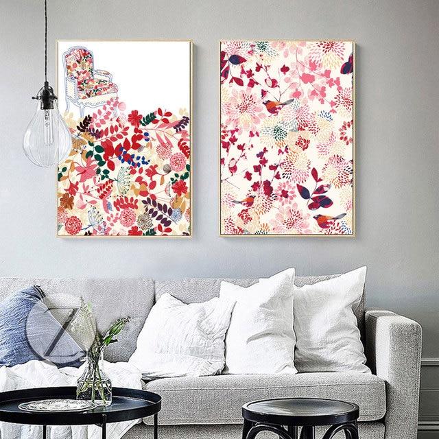 Kein Rahmen 2 Panel Blumen Print Poster Skandinavien Leinwand Malerei  Nordic Kunst Wandbild Für Wohnzimmer Moderne