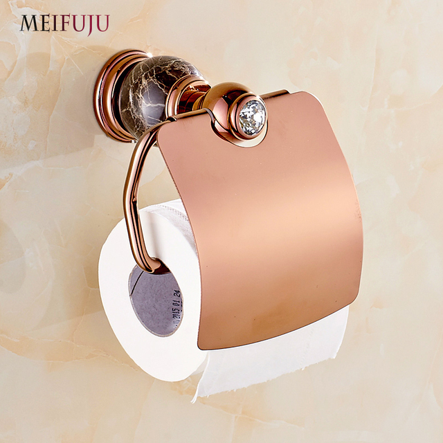 Whole And Retail Jade Marble Toilet Paper Holder Rack Luxury Rose Gold Bathroom Accessories Tissue Box