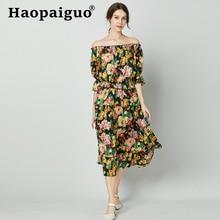 S-XL Plus Size Slash Neck Summer Beach Dress 2019 Loose Short Sleeve Print Floral Women Big Swing Black Robe