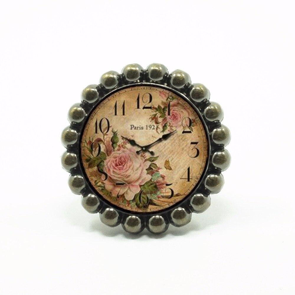 Relógio flor Botão de Vidro Maçanetas de Gaveta Dresser Knob Puxa Puxadores de Armário Da Cozinha Puxador Rústico Decorativo Antigo