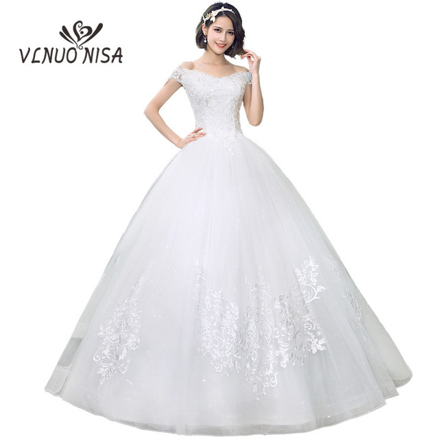 New Fashion Cheap Wedding Dresses 2018 Boat Neck Sexy Off the shoulder Customized Plus Size  Lace Embroidery Elegant Princess C