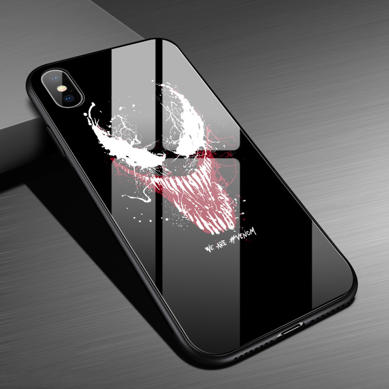 Luxury Hard Black Panther Venom Glossy Tempered Glass Case For iPhone Xs Max 6 6s 7 8 Plus Back Cover Shockproof Case Couqe marvel glass iphone case