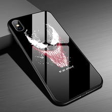 Luxury Hard Black Panther Venom Glossy Tempered Glass Case For iPhone Xs Max 6 6s 7 8 Plus Back Cover Shockproof Couqe
