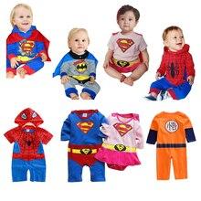 Мультфильм хлопок Одежда для мальчиков комбинезон Бэтмен Человек-паук Гоку для маленьких мальчиков комбинезон СУПЕРМЕНА для маленьких девочек детский комбинезон Косплэй