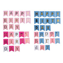 Glitter Happy Birthday Bunting Banner Gold Letters Hanging Garlands Pastel Gold String Flags Baby Birthsday Party/Festival Decor(China)