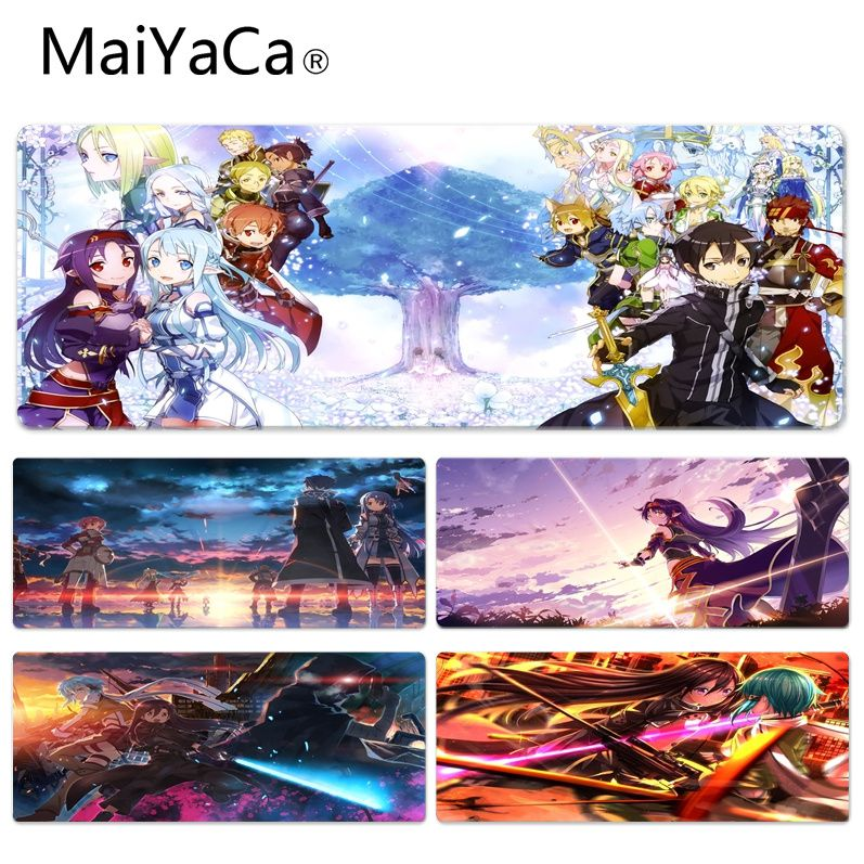 MaiYaCa Sword Art Online Durable Rubber Mouse Mat Pad Size for 40x90CM Speed Version Gaming Mousepads