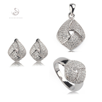 White Cubic Zirconia silver Plated jewelry heart set (ring/earring/pendant) R 3252set sz6 7 8 9 Brand New Explosion models Punk
