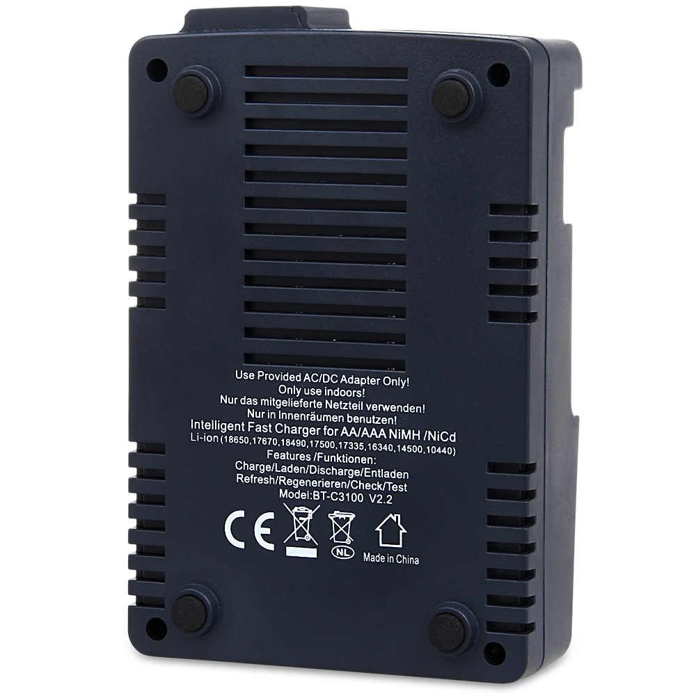 Opus BT-C3100 V2.2 Smart Digital Intelligent 4 ЖК-слота Универсальное зарядное устройство для аккумуляторной батареи с вилкой EU/US