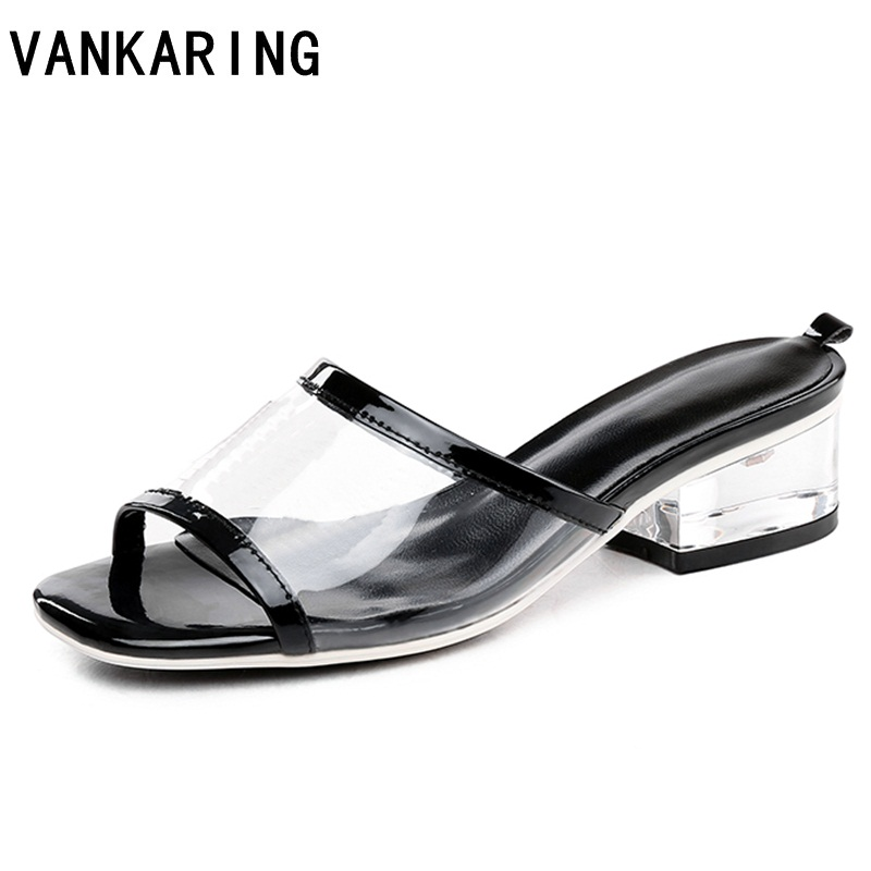 fashion design summer dress shoes women sandals transparent pvc high heels sexy open toe clear casual shoes ladies beach slipper