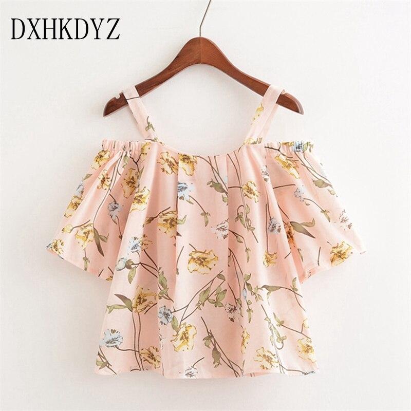 DXHKDYZ2018 summer new womens flower print sexy strapless loose One word collar chiffon female T-shirt