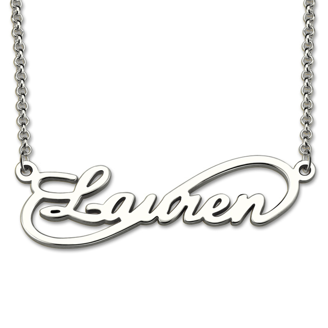 AILIN Personalized Infinity Necklace Custom Name Necklace Sterling Silver Infinity Symbol Name Pendant Single Infinity Jewelry