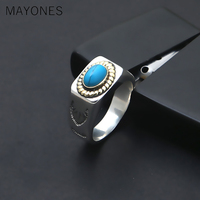 MAYONES Brand Men Ring 925 Sterling Silver Men Jewelry Vintage Turquoises Feather Finger Ring Men Women Gift Fine jewelry