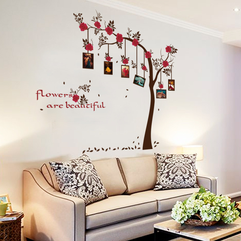 quality large brown phote frame tree wall sticker women living room home  decor self adhesive vinyl murals restaurant poster-in Wall Stickers from  Home ... db49ef96e