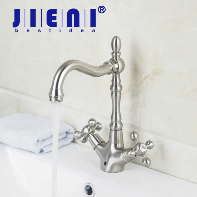 JIENI Nickle Brushed Rotated Spout Kitchen Faucet With Sprayer Kitchen Sink Mixer Tap Dual Handles Faucet