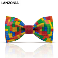 Lanzonia Novelty Colorful Plaid Mens Bow Tie Male Fashion Wedding Designer Funny Bowtie Fancy Unique Party Cool Neckwear