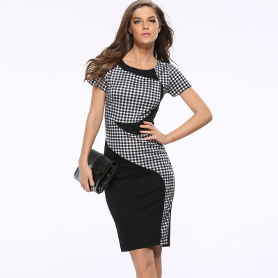 New Summer Women s Sexy Casual Dress Patchwork Strap Rear Zippers Dress O neck Pencil Slim
