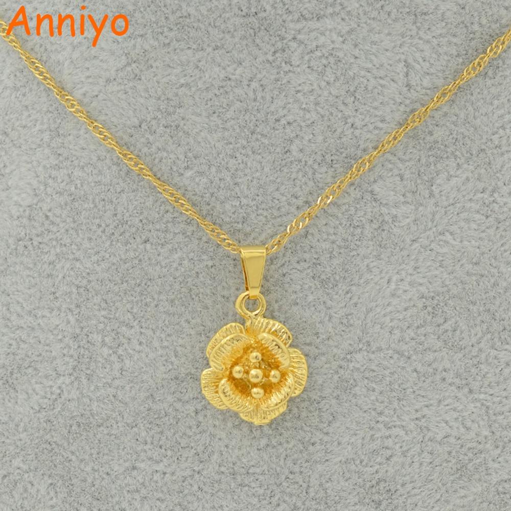 Aliexpress.com : Buy Anniyo Charms Flower Pendant Necklace