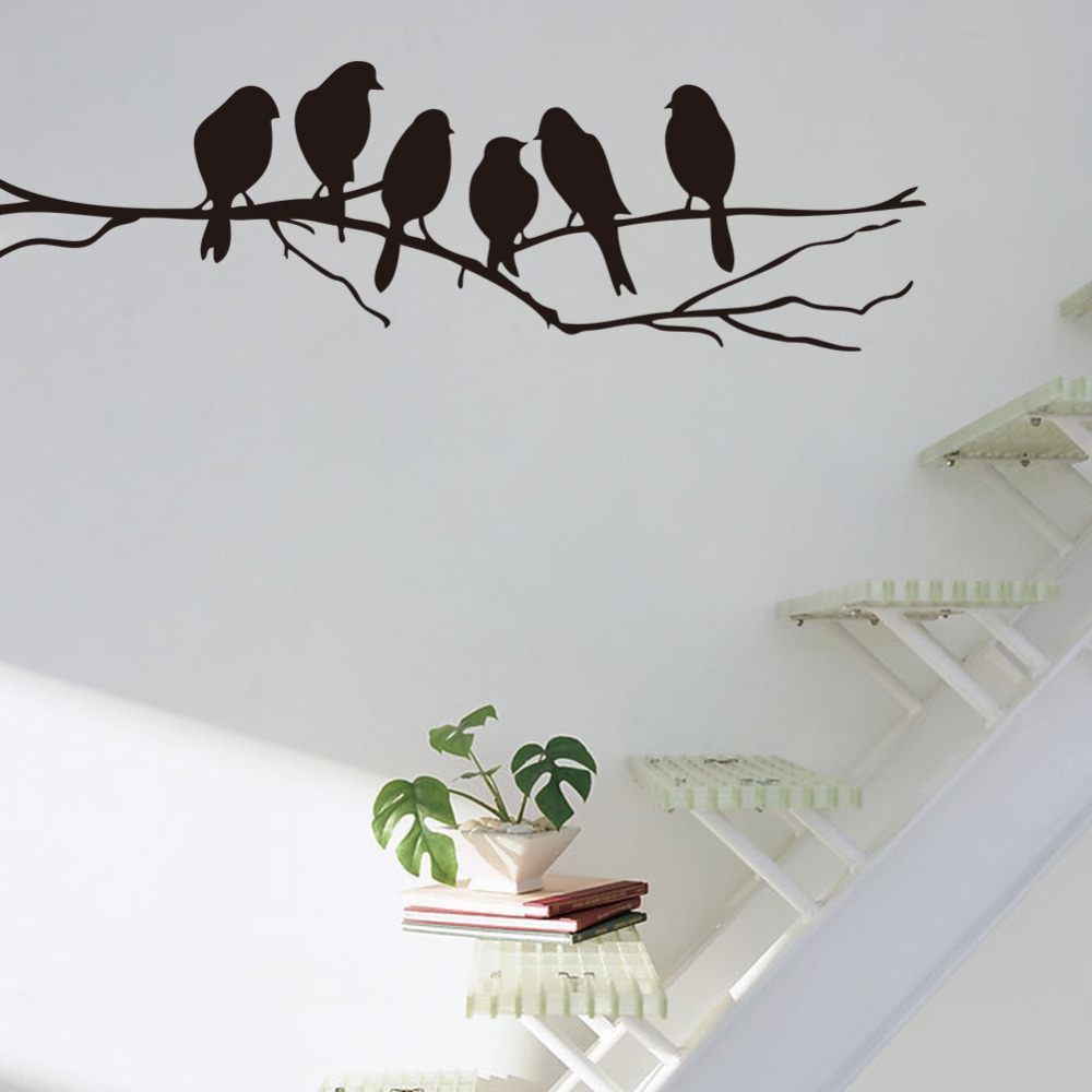 Adesivos de parede de decoração para casa moderna 6 pássaros no ramo de vinil sala de crianças do berçário do bebê decoração do quarto 8216. Decoração da arte do decalque