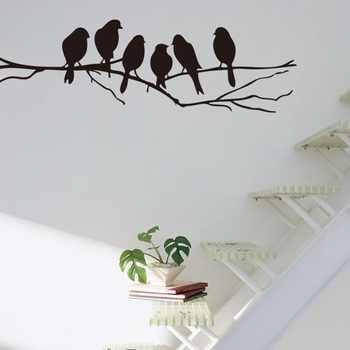 Pegatinas de pared decoración moderna para el hogar 6 pájaros en rama vinilo sala de estar niños bebé guardería dormitorio decoración 8216. Decoración arte