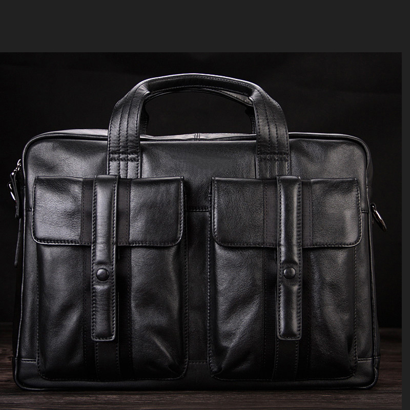 "High Class Luxury Men Genuine Leather Briefcases Leather Office Bag Men Business Bag Male 15""Laptop Bag Shoulder Bags Tote Black"