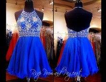 Real Sample Royal Blue Heavy Beading Crystal illusion A Line Organza Halter Prom Dress vestido de festa For Wedding Party