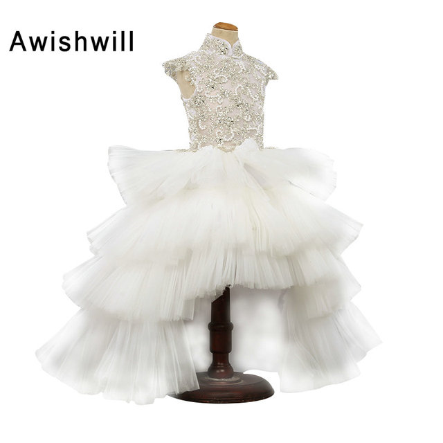 226c94c291 2019 Robe Fille Enfant Mariage de Soiree Cap Sleeve Beadings Tiered Tulle  White Flower Girl Dress Child Party Dress
