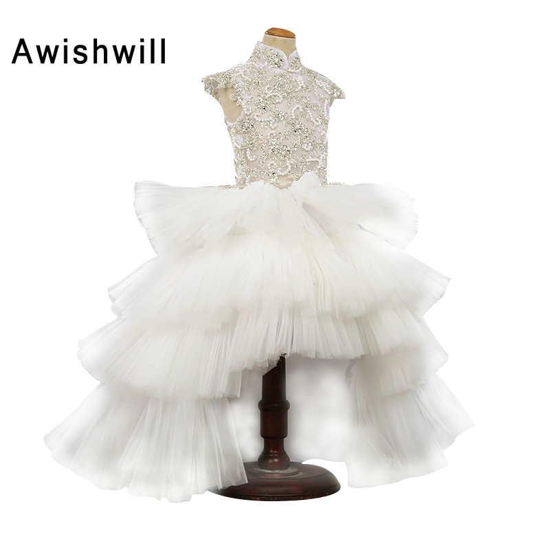 2019 Robe Fille Enfant Mariage de Soiree Cap Sleeve Beadings Tiered Tulle White   Flower     Girl     Dress   Child Party   Dress