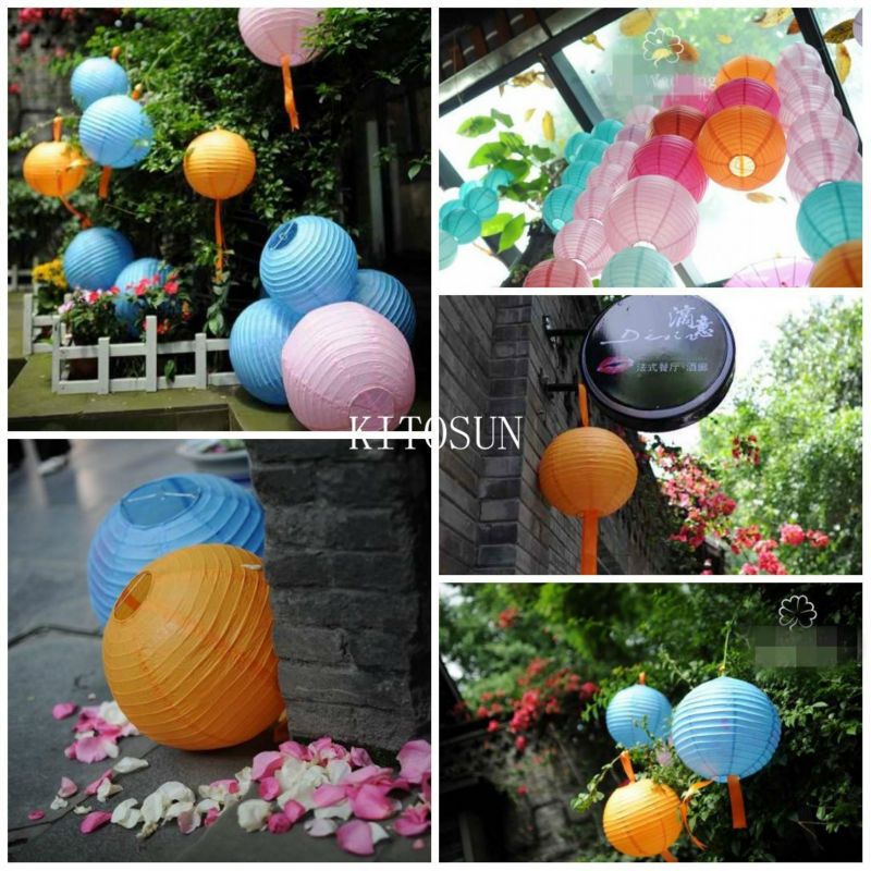 10pcs package colorful paper lantern lights with multicolor led mini